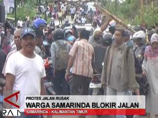 Warga Samarinda Blokir Jalan