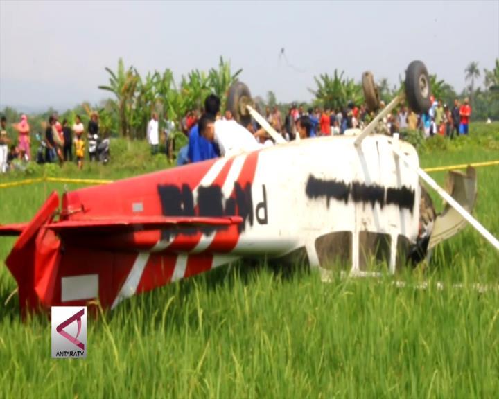 Pesawat Latih Jatuh di Persawahan