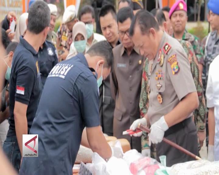 Polda Lampung Musnahkan Narkotika Senilai Rp 1,3 Triliun