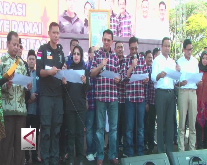 Paslon Gubernur DKI Jakarta Janji Kampanye Damai
