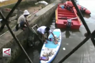 Bersih-Bersih sampah di Teluk Kendari