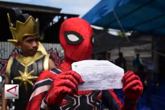 Saat Gatotkaca dan Spiderman mencoblos