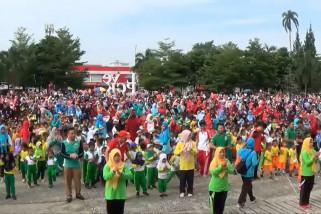 Rayakan HAN, ribuan anak PAUD Pangkalpinang senam massal