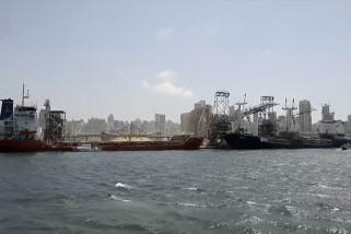 Kondisi laut Beirut usai ledakan dahsyat