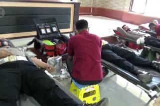 HUT Polantas di Pandeglang, 100 personel lakukandonor darah