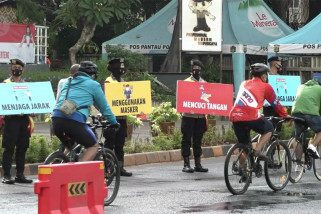 PSBB Jakarta, masyarakat  tetap berolahraga di Kawasan Sudirman - Thamrin