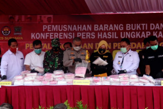 Polrestabes Surabaya musnahkan 79 kg sabu asal Malaysia