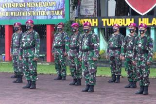 Apel gelar pasukan, prajurit TNI disiagakan untuk pengamanan di Medan