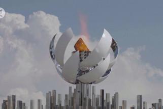 Kaldron api Olimpiade duplikat dipajang di pantai Tokyo